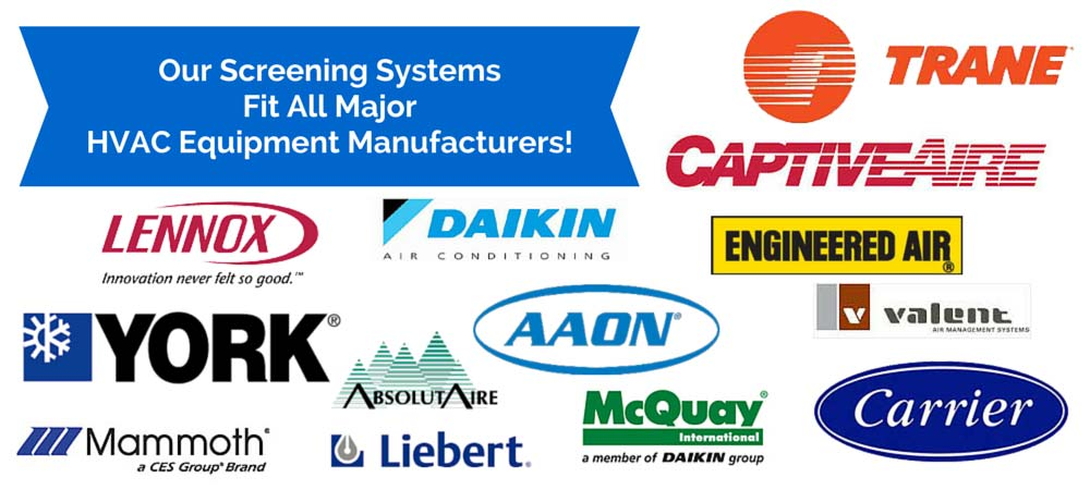 HVAC Screens and rooftop screening systems in many sizes and styles